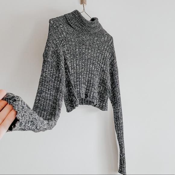 Crop Top Turtleneck Sweater Knit Women's Small